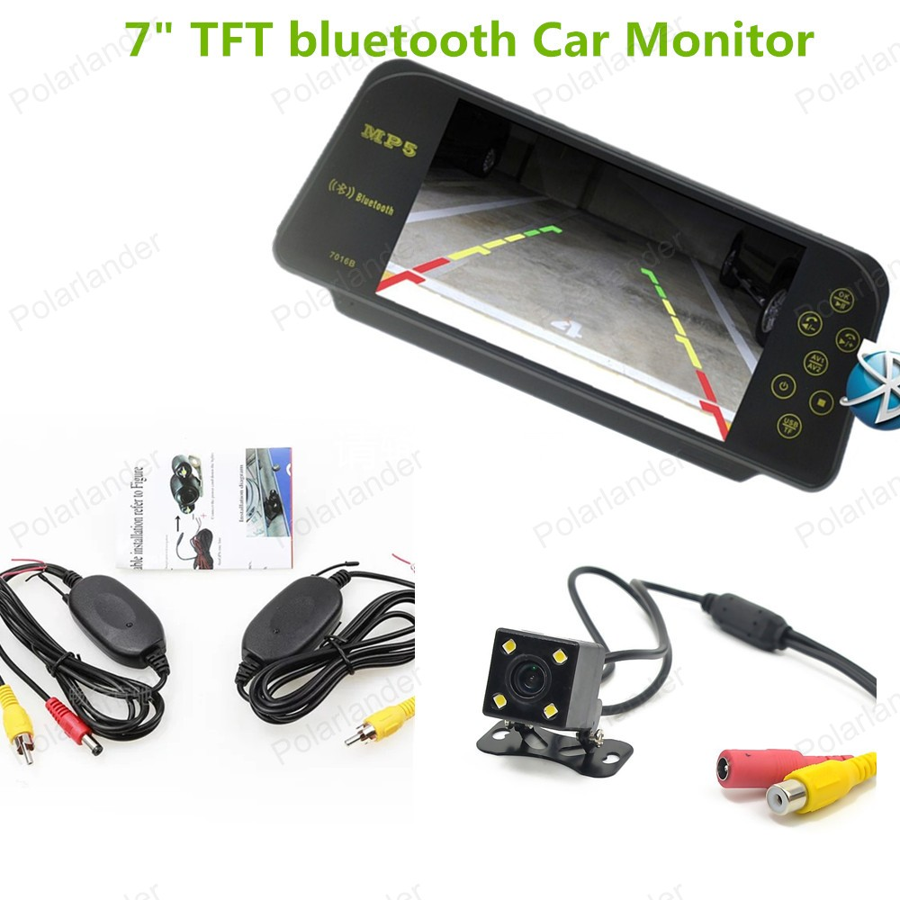 DC 12V 24V 7 Inch TFT LCD Color bluetooth Car Monitor with wireless 4 led