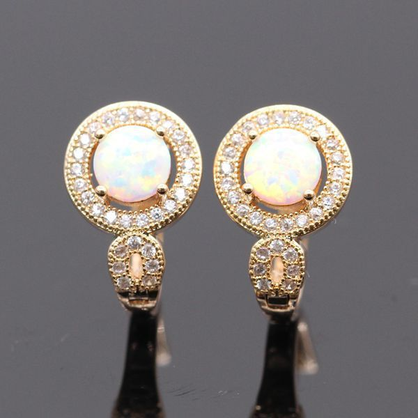 Romantic Round Multicolor Fire Opal AAA CZ 925 silver Gold Plated Earring 5colors