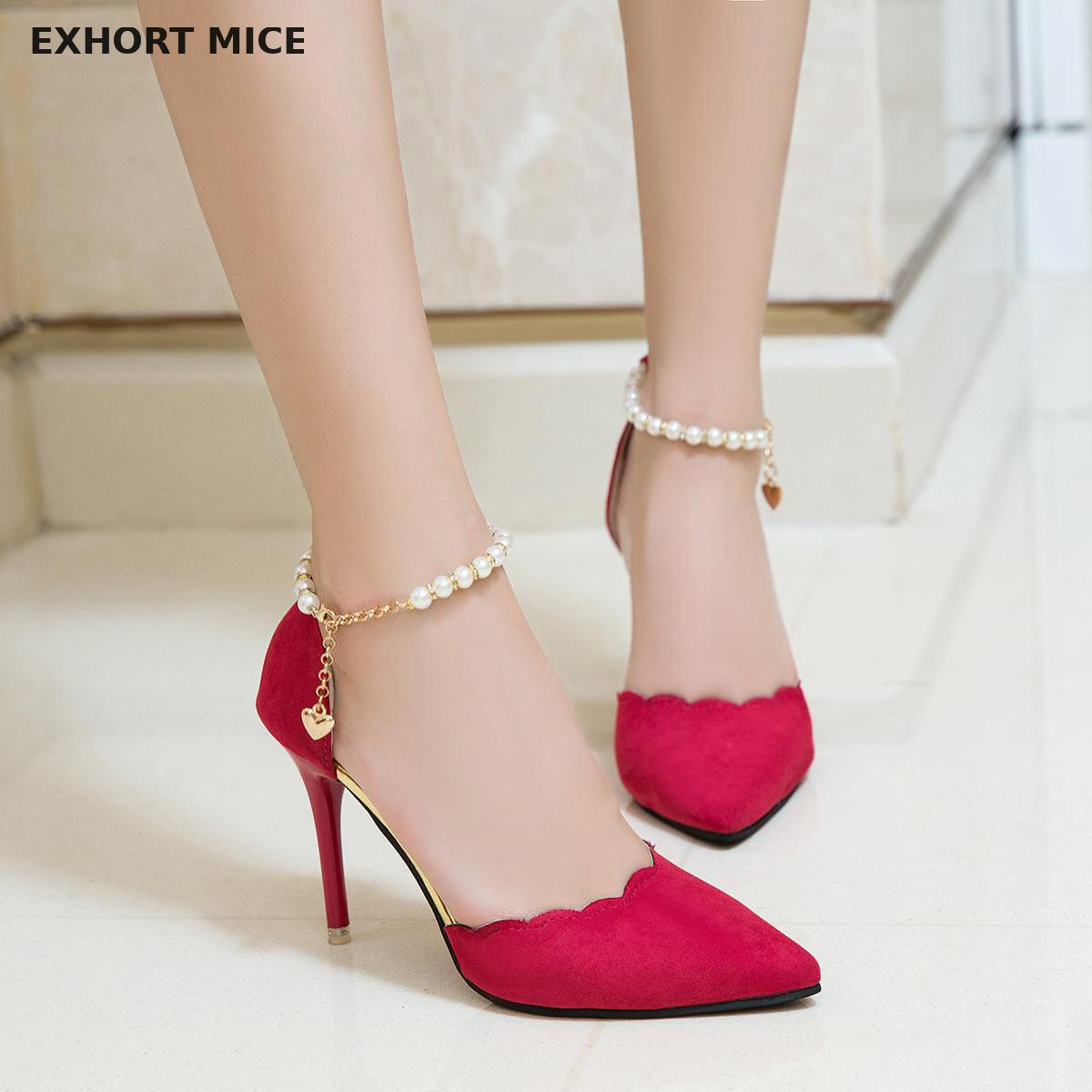 Women Pumps 2019 New Arrival Super Women Shoes High Heel Pointed Hollow Shallow Mouth Wedding Woman Lace Beaded