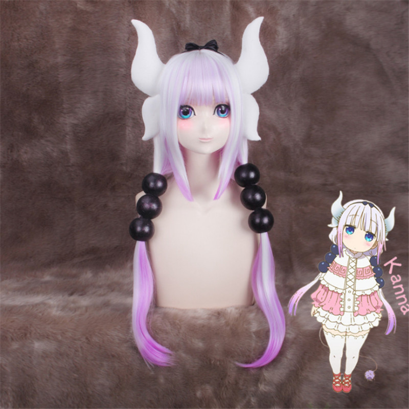 Kobayashi-san Chi No Maid Dragon Kamui Kanna 80cm Gradient Wigs Horns Headdress Cosplay Peluca Hair Ornaments Accessories