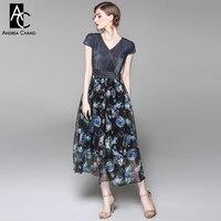 Printemps été piste designer femme robe bleu foncé denim top col v avec ceinture fleur bleue imprimer coton mélanges veau longueur robe