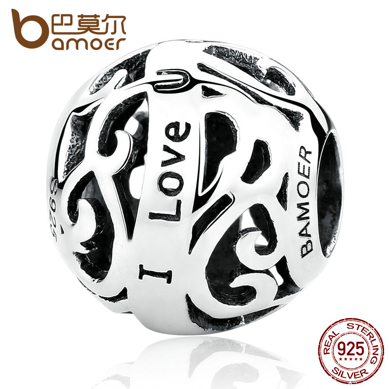 BAMOER Romantic 925 Sterling Silver I Love U Openwork Bead Charms Fit DIY Bracelets & Necklace Fine Jewelry SCC063 openwork u pouch design high cut briefs