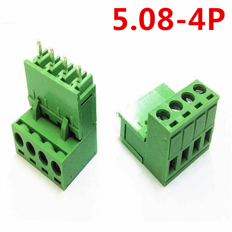 10sets 4 Pin 5.08mm pitch PCB Electrical Plug Type Straight pin Green wire connectors screw terminal block Pin header and socket