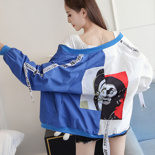 Blouson basique pour femmes, blouson imprimé Clown, coupe-vent Chic, mince, à la mode, manteau de Baseball féminin 2
