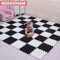MQIAOHAM Baby EVA Schaum Spielen Puzzle Matte 18 teile/los Schwarz und Weiß Verriegelung Übung Fliesen Boden Teppich Und Teppich für kinder Pad