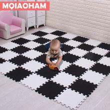 Mqiaoham bebê eva espuma jogar quebra-cabeça esteira 18 pçs/lote preto e branco bloqueio exercício telhas tapete e tapete para crianças almofada