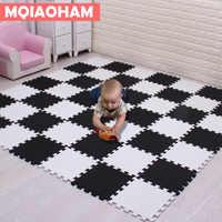 MQIAOHAM bebé de espuma EVA rompecabezas Mat 18 unids/lote blanco y negro de enclavamiento de ejercicio azulejos piso alfombra los niños Pad