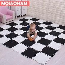 MQIAOHAM bebek EVA köpük oyun bulmaca Mat 18 adet/grup siyah ve beyaz kilitli egzersiz fayansları zemin halı ve kilim çocuk pedi