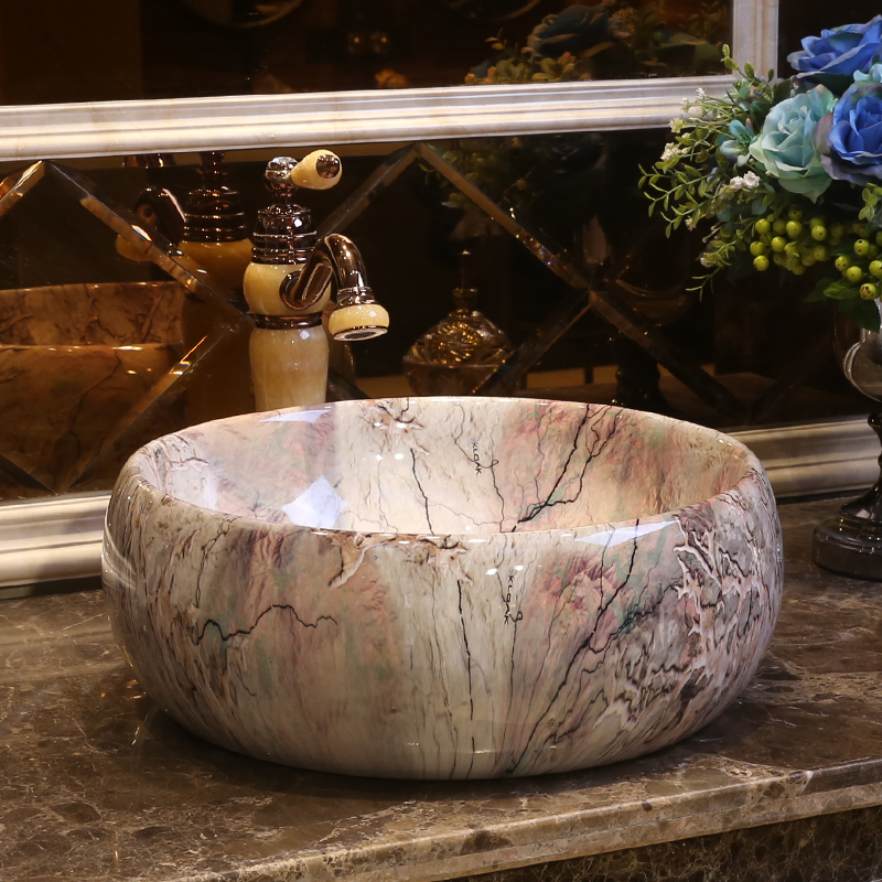 Porcelain bathroom vanity bathroom sink bowl countertop Ceramic wash basin bathroom sink round