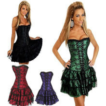 Burvogue Sexy Underbust Corset And Bustier Lace Evening Women Casual Dress Plus Size Push Up Gothic Corset Dress With Skirt