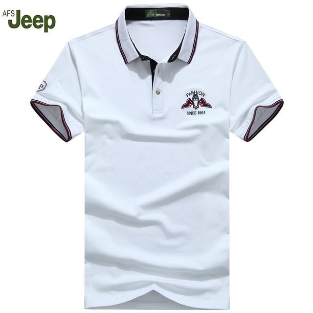2016 AFS Jeep Nueva marca de ropa de Polo Sólido Hombres de la Camisa de impresión de ocio de Moda marca Polos ropa Hombre Corto-manga 50