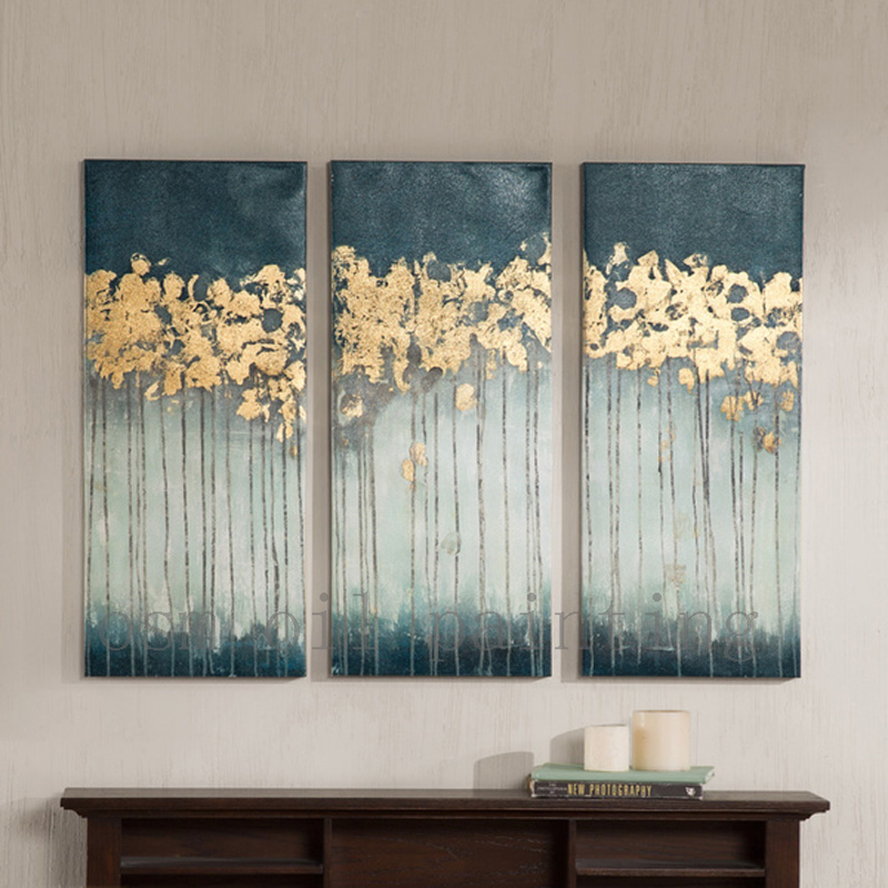 Ručně vyrobená umělecká díla Madison Parku Midnight Forest Gel Coat Canvas se zlatou fólií výzdobou 3 kusy