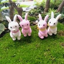 Hot 4pcs/set Mini Little Rabbit Ornament Miniature Figurine Fairy Garden Decor Home Decoration Christmas Gift