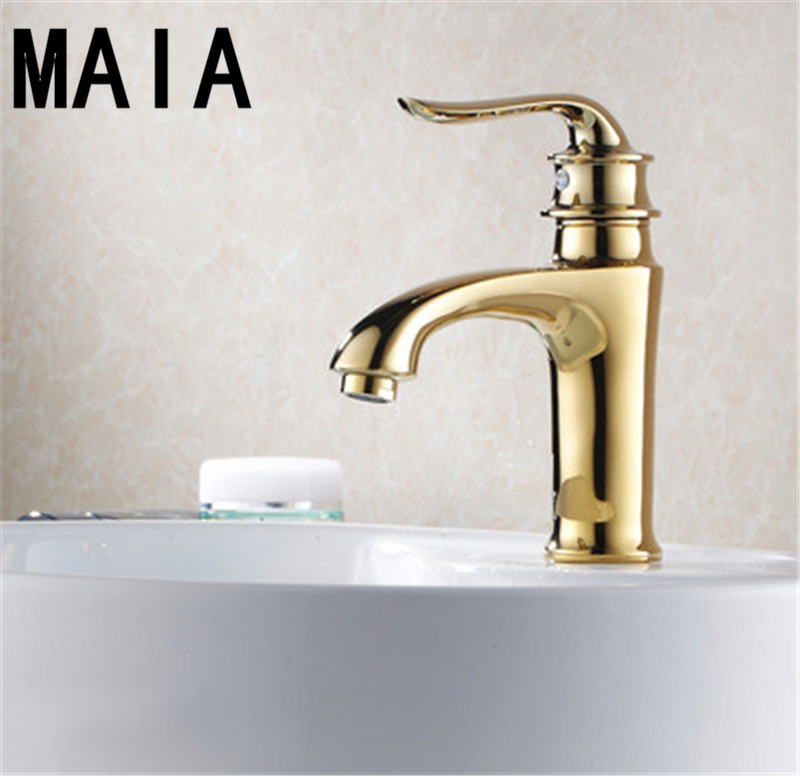 Free Shipping 2015new Luxury Fashion Solid Brass Basin Faucet Hot And Cold Faucet Gold Bathroom