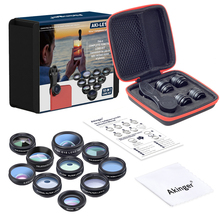 Akinger 10in1 Phone camera Lens Kit Fisheye Wide Angle macro 2X telescope Lenses for iphone xiaomi samsung galaxy android phones