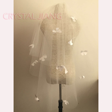 White Ivory Short Butterfly Bridal Veils Raw Edge 2 Layers Wedding Veil