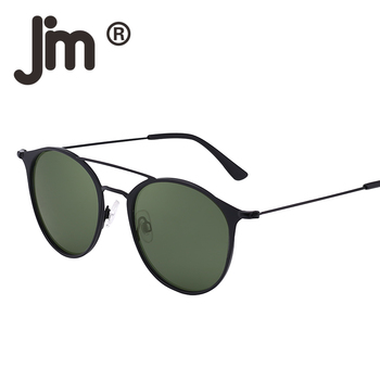 JM Phân Cực Trọng Lượng Nhẹ Hình Bầu Dục Vòng Kim Loại Khung Sunglasses Lái Xe Người Đàn Ông Phụ Nữ Retro Thời Trang Cổ Điển UV400 Ống Kính Kính Mặt Trời