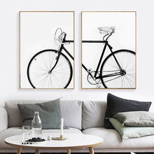 Modern Simple Bicycle Wall Art Black White Bike Canvas Painting Posters and Prints Hang Painting Bedroom Living Room Decoration(China)