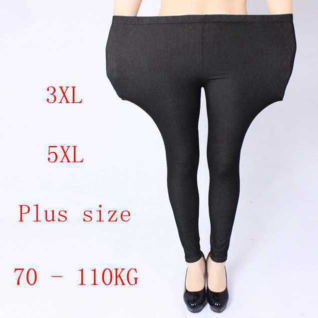 free-shipping-plus-size-women-jeans-pants-heavy-lady-fashion-immitation-denim-pant-elastic-large-pencil