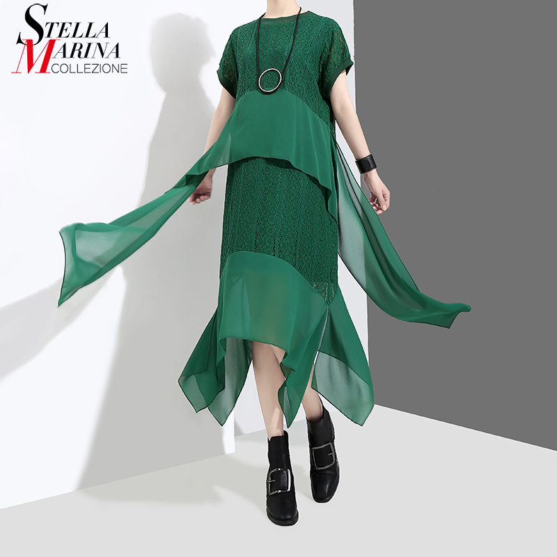 New 2018 Korean Style Short Sleeve Women Green Asymmetrical Dress With Long Tapes Stitched Girls Special Wear Casual Dress 3622