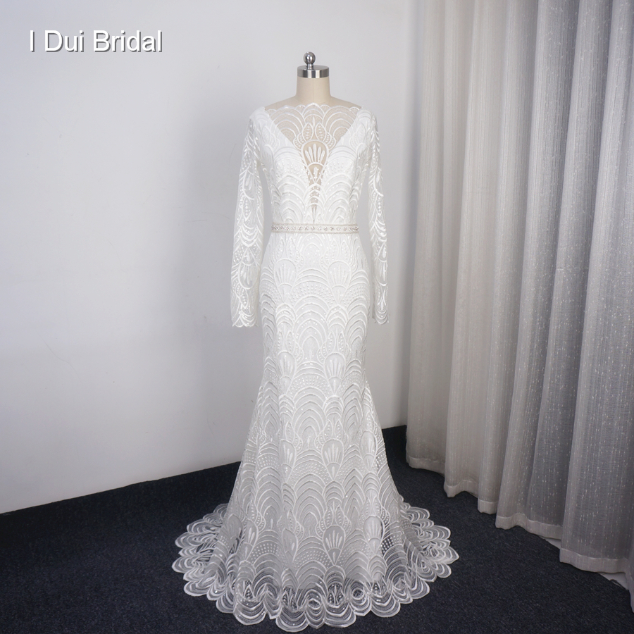 Long Sleeve Lace Wedding Dresses Sheath Illusion Full Sleeve Sequin Beaded Shinny High Quality Bridal Gown