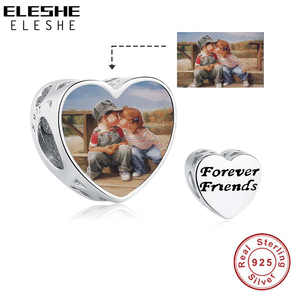 Genuine 925 Sterling Silver Forever Friends Love Charm Custom Photo Heart Beads Fit Original Charm Bracelet Personalized Jewelry image