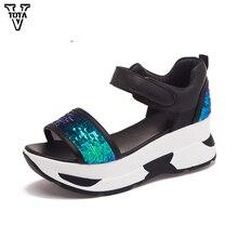 Vtota Летние туфли-гладиаторы Женские Блестящие Босоножки на платформе из мягкой кожи с открытым носком Повседневная женская обувь женские сандалии на танкетке R25