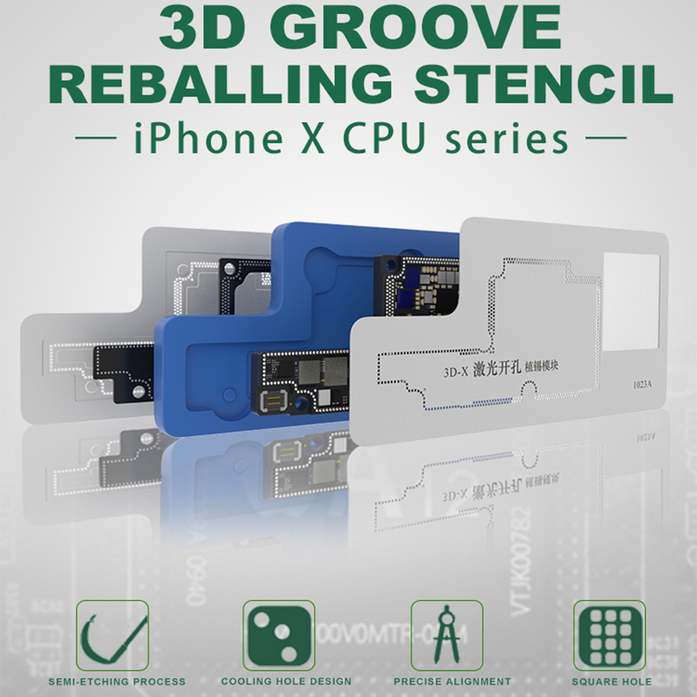 3D BGA Rework Stencils for iPhone X A12 CPU PCB Groove BGA Reballing Stencil Template Middle Layer Motherboard Repair Tools3D BGA Rework Stencils for iPhone X A12 CPU PCB Groove BGA Reballing Stencil Template Middle Layer Motherboard Repair Tools