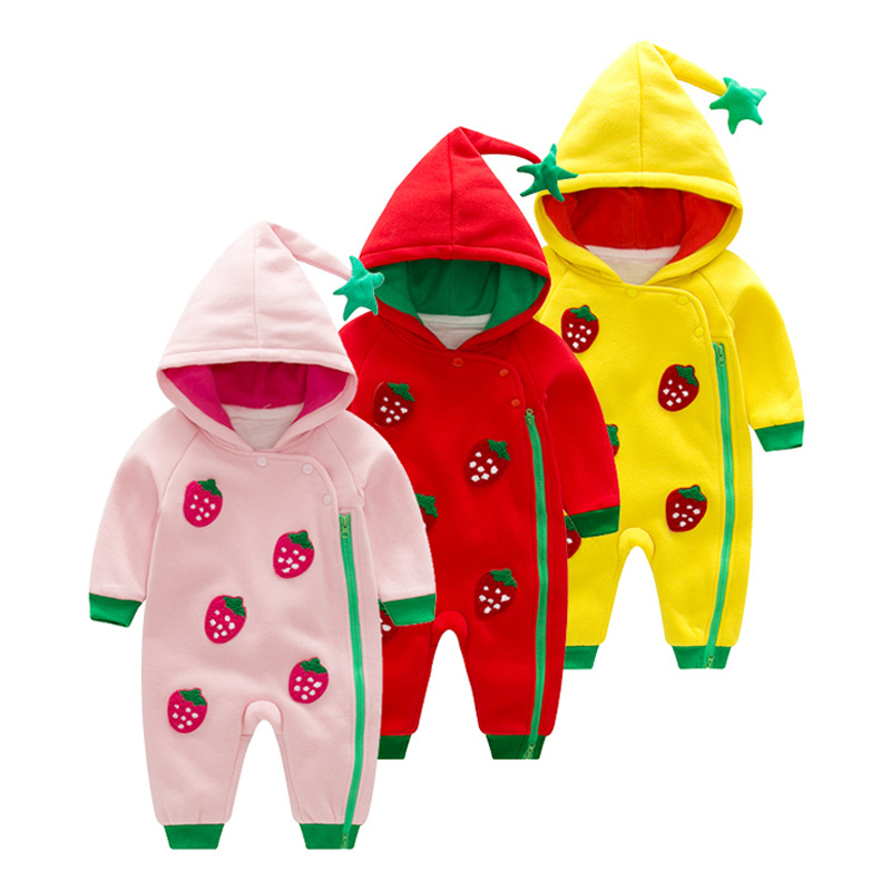2018 Baby Fruit Strawberry Stamp Leotard Double Cotton Hooded Style Romper Climbing Clothes during Spring And Autumn creative strawberry style fruit picks forks 10 fork set