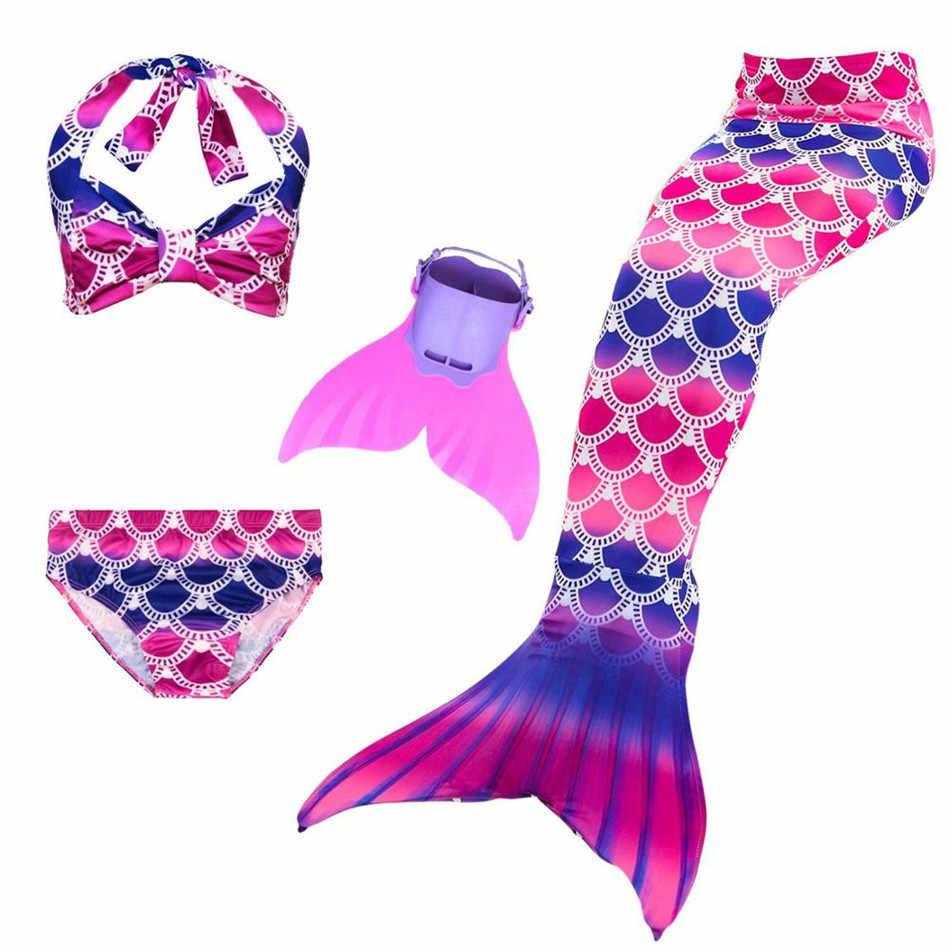 2019 สาว Mermaid หาง Monofin ชุดเด็กชุดว่ายน้ำเด็กบิกินี่ฮาโลวีนชุดว่ายน้ำกระโปรงคอสเพลย์