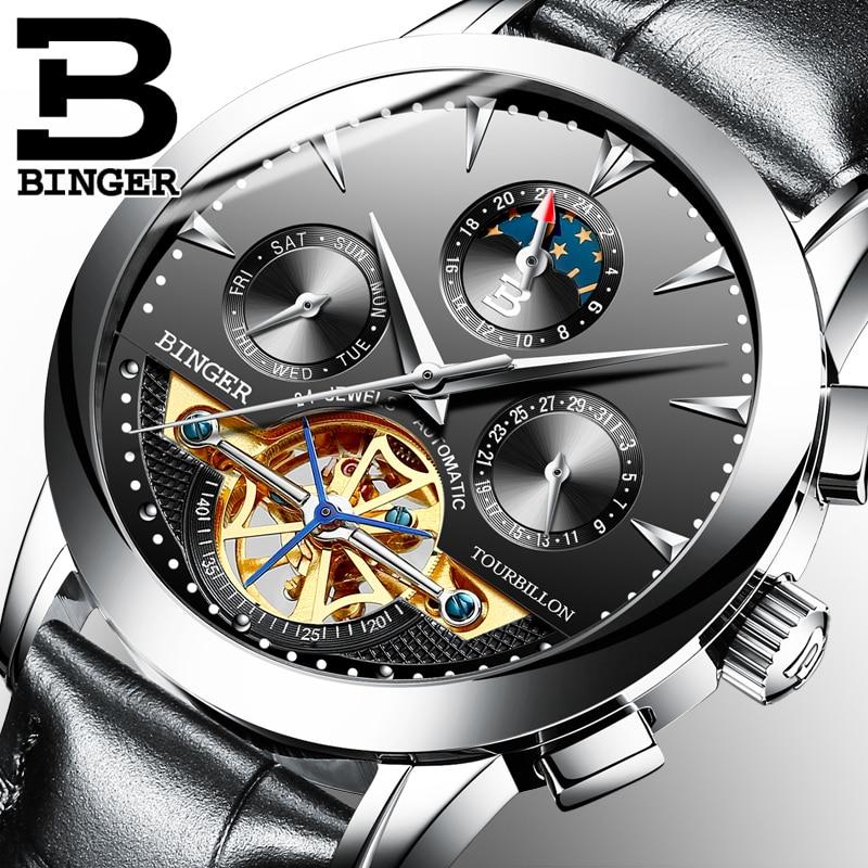 2016 BINGER Luxury Watch Men Day Month Flywheel Mechanical Watches Leather Men s Automatic Watch Wristwatch