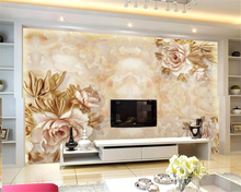 papel de parede European and American marble peony relief background 3D wallpaper murals living room bedroom wall paper