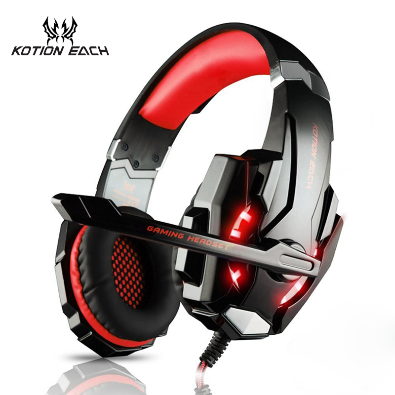 KOTION EACH G9000 3 5mm Gaming Headphone Game Headset Noise Cancellation USB Earphone Mic LED Light