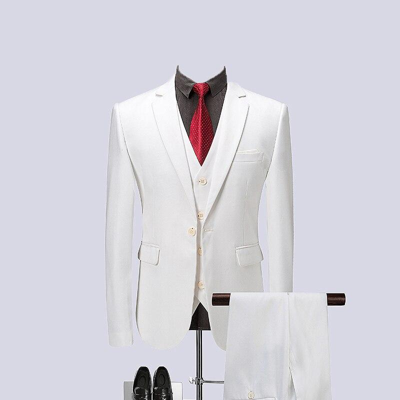 2019 White Spring Mens Business Formal Suit Men Single Breasted Suits Slim Fit Mens Quality Suits 3 Pieces Set Jacket Vest Pants