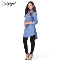 2017 New Fashion Women Blue Denim Dress Casual Loose Long Sleeve T Shirt Dresses Straight Dress