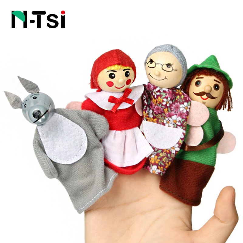 Baby Toys Animal Family Finger Puppets Wooden Cartoon Theater Soft Doll Kids Educational Toys For Children Popular Gift Play