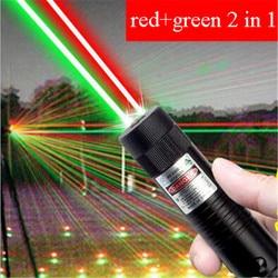 10000 M High Power 2 In 1 Merah Hijau Laser Pointer Tahan Air Logam Laser 303 Adjustable LAZER Terlihat Pointer untuk berburu Camping