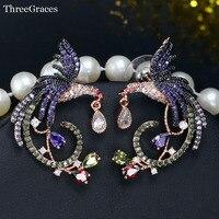 Threegraces de lujo estilo europeo Rosa oro color blanco púrpura verde oliva cristal austriaco mujeres grandes Pendientes joyería er252