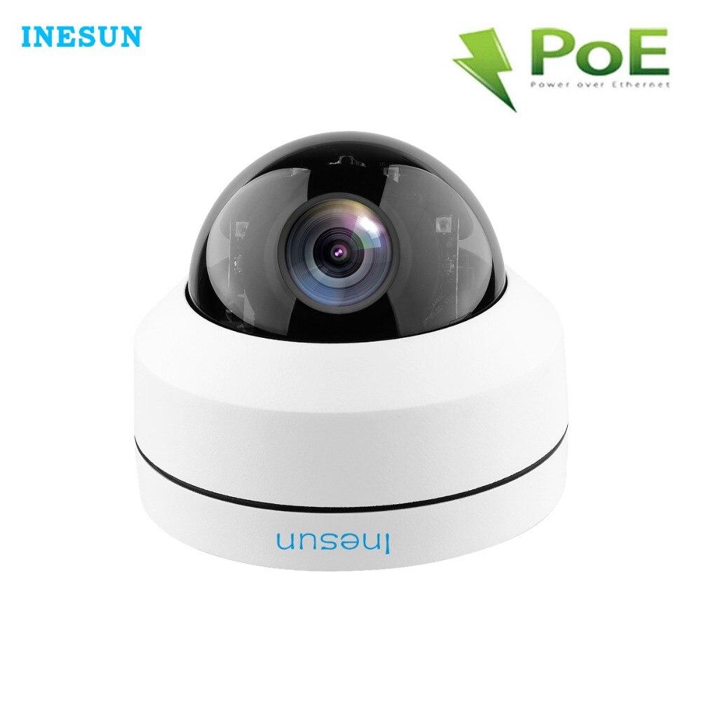 Caméra de sécurité IP POE PTZ extérieure Inesun 5MP Super HD 2592x1944p 4X Zoom optique PTZ caméra IP66 étanche IK10 anti-vandalisme