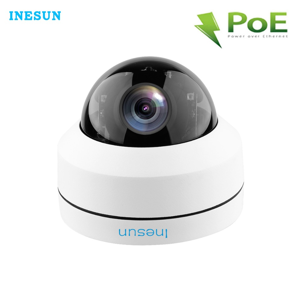 Inesun Открытый Вандал купольная POE IP Security Камера 5MP HD 2592x1944 P 4X зум PTZ Камера, IP66 Водонепроницаемый, IK10 Vandalproof