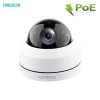 Inesun Outdoor Vandal Dome POE IP Security Camera 5MP HD 2592x1944p 4X Zoom PTZ Camera, IP66 Waterproof, IK10 Vandalproof