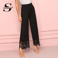Sheinside Elegant Black Hollowed Out Wide Leg Pants Women 2019 Spring High Waist Solid Trousers Ladies Elastic Waist Pants