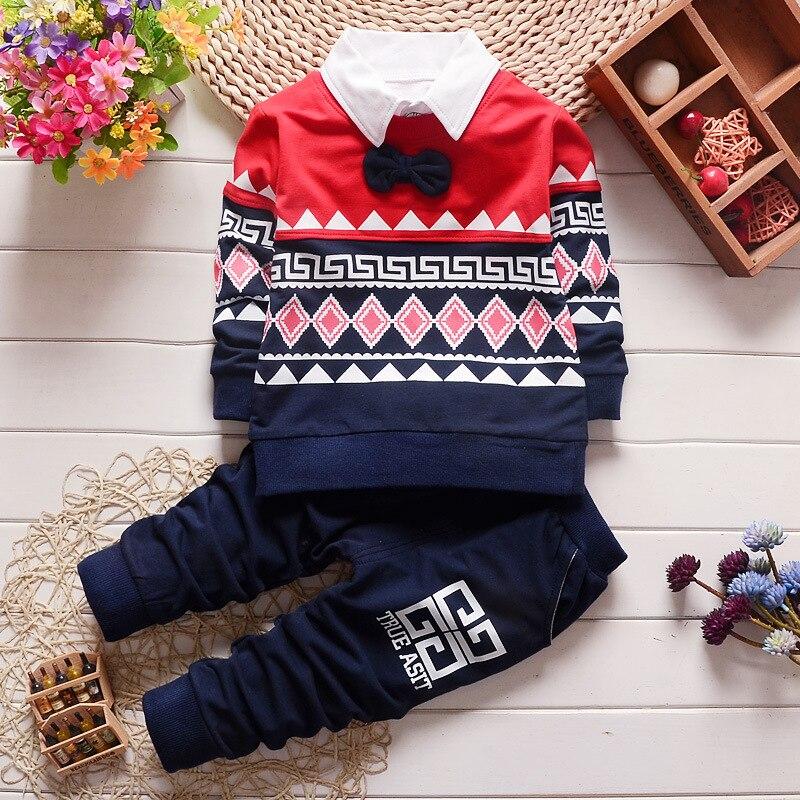 0-2-4T Children Clothing Sets Baby Boy Girl T-shirt + Detachable Collar + Pants 3 Piece Infant Printed Suits Spring Autumn