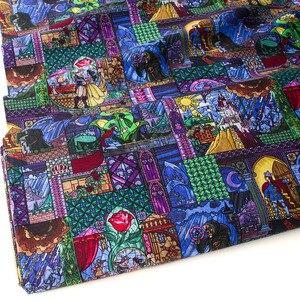 Image 1 - Полуметровая хлопковая ткань Лоскутная стеганая ткань красота и чудовище хлопок Белль витражное стекло
