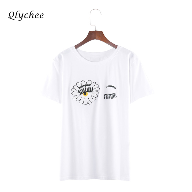 Qlychee Fashion Casual Funny Tshirt Women Eyelash Sequins Sunflower Embroidery T Shirt Femme White Top Tee In Shirts From Womens Clothing Accessories