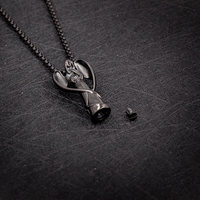 AILIN Customized Guardian Angel Keepsake Necklace For Ashes Urn Necklace In Black Color