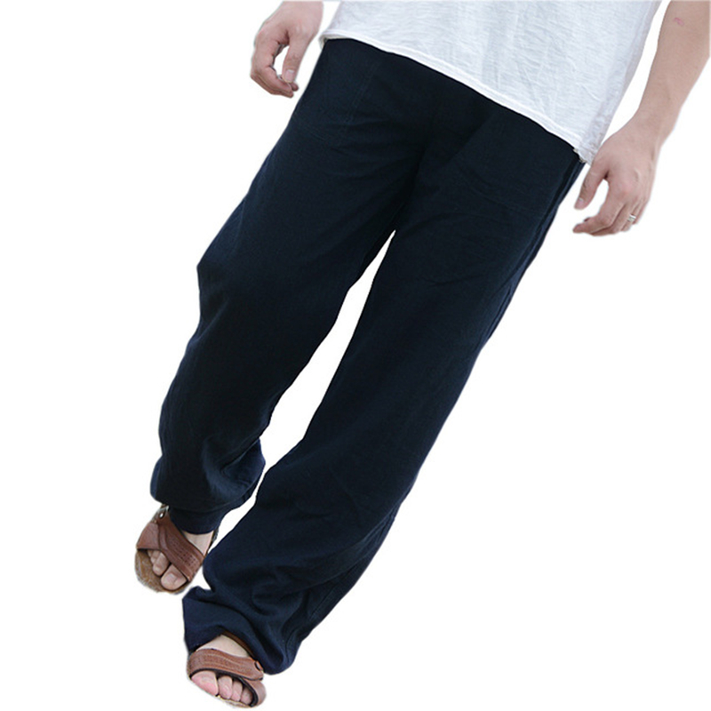 Men/'s Casual Pants Summer Beach Suit Long Loose Linen Trousers Elastic Waist