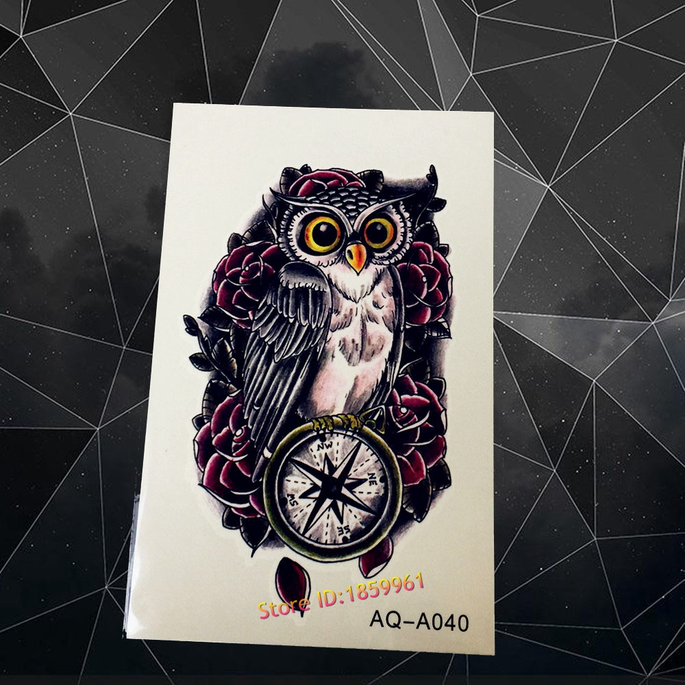 Hot fashion 3d owl tattoo sticker for sexy women aaq a040 cool men compass fake tattoos paste black owl pattern old clock tatoo in temporary tattoos from