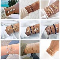 docona Summer Beach Heart Shell Arrow Bracelets Bangle Set for Women Girl Open Adjustable Layering Bracelet Set Anklet
