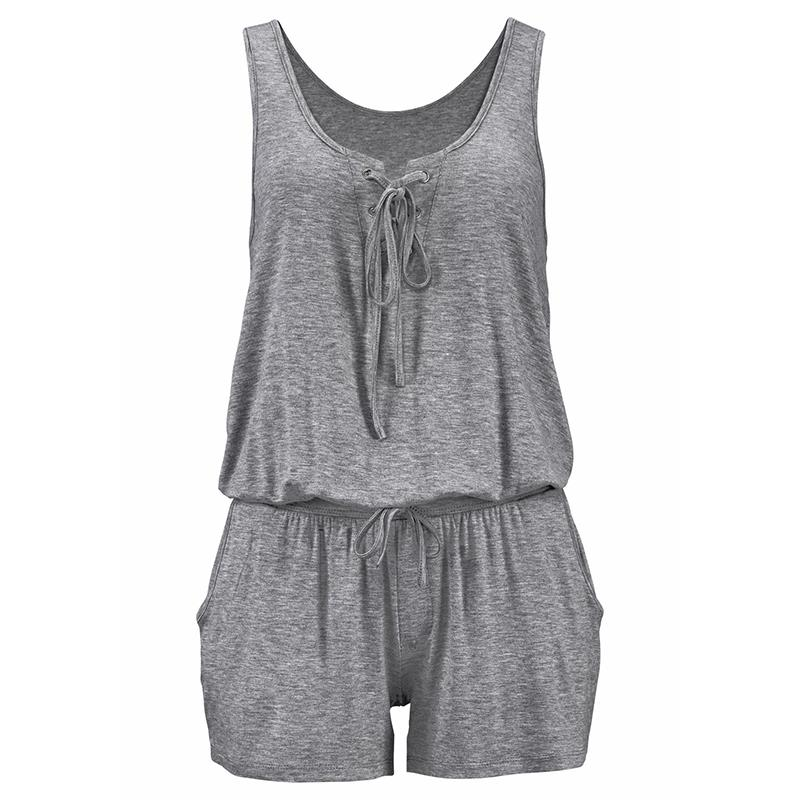Casual Summer Solid Women Jumpsuit Sleevess Shorts Loose Rompers Female Bandage Vest Jumpsuits WS7475W